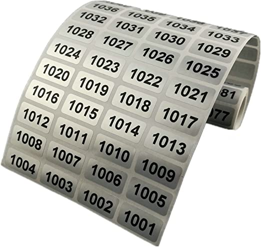 Waterproof Consecutive Number Inventory stickers on Silver Sticker 500 Labels