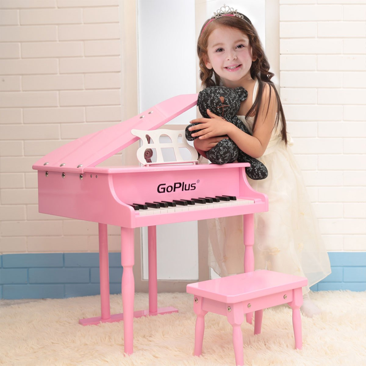 Goplus Wood Toy Grand Piano 30 Keys for Childs with Bench (Black) Superbuy