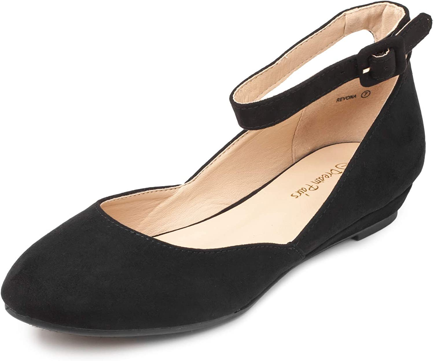 DREAM PAIRS Women's Revona Low Wedge Ankle Strap Flats Shoes
