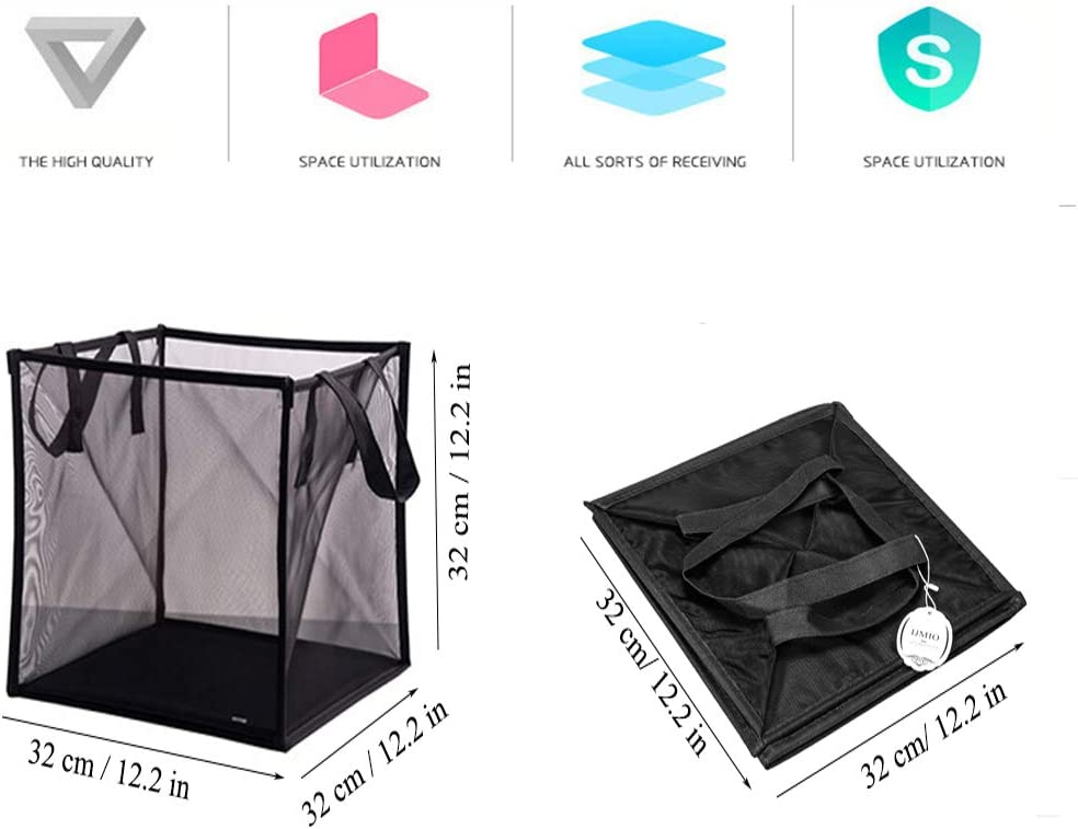 Double Layer IJMIO Laundry Basket Foldable Mesh Dirty Clothes Laundry Hamper Collapsible Basket with Handle for Storage Laundry Cloth Toy in Bedroom Bathroom Black