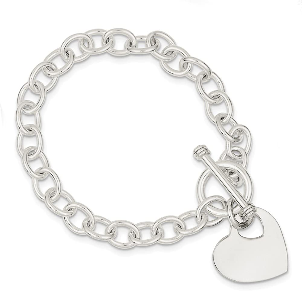 Sterling Silver Flat Solid Polished Engravable Love Kid Charm