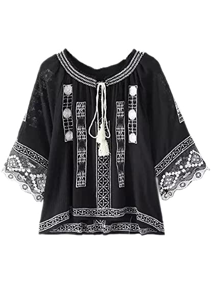 ef1965f55d178c Joeoy Women's Bohemian Embroidered 3/4 Sleeve Peasant Blouse Shirt Black-L