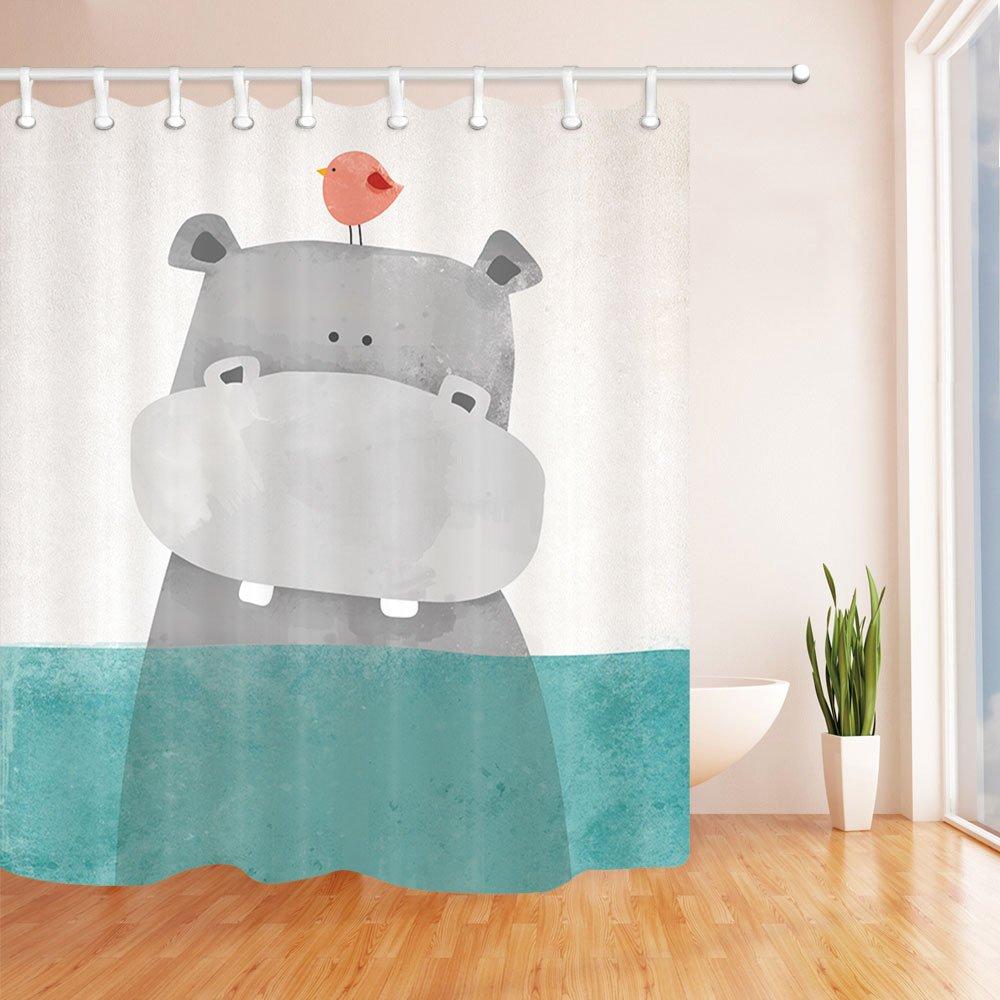 Cute Cartoon Animals Shower Curtains with Hooks, Hippo Bird Baby, Waterproof mildew Resistant, Children Bathroom Gift, Green Grey (Hippo) (59x71 inch, 3)