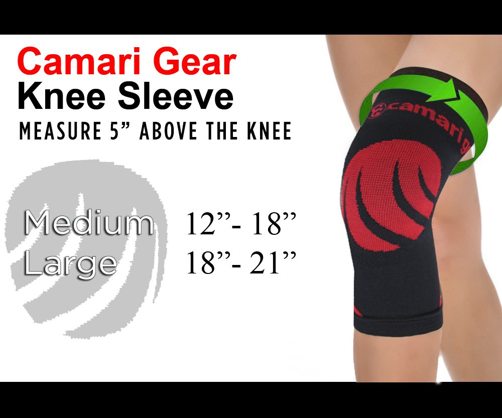 Tendonitis Injury Recovery Meniscus Tear Weightlifting - for Joint Pain Running Camari Gear Sports Knee Compression Sleeve Support Brace Cycling MCL Arthritis Squats Single ACL Basketball