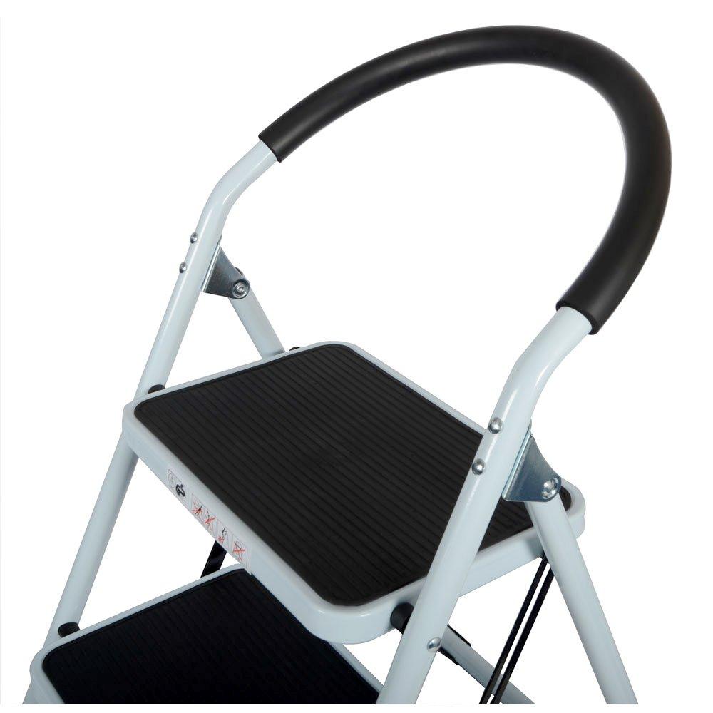 White CrazyGadget 2 Step Ladder with Rubber Grip Tread Safety Non Slip Folding Step Ladder Kitchen Stool Home Garden Tool DIY