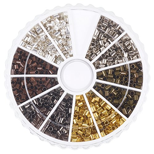 (PandaHall Elite About 1500 Pcs Brass Tube Crimp Beads Cord End Caps Diameter 2mm for Jewelry Making 6 Colors )