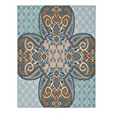 Polyester Rectangular Tablecloth,Arabian,Arabian Style Geometric Pattern Islamic Persian Art Elements and Baroque Touch Art,Brown Teal,Dining Room Kitchen Picnic Table Cloth Cover,for Outdoor Indoor