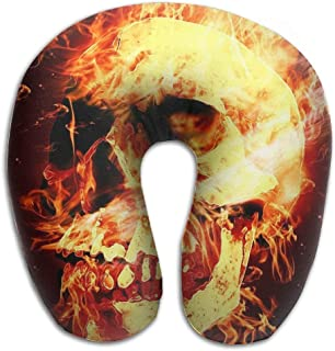NDJHEH maternité et Corps Neck Pillow Skulls on Fire Travel U-Shaped Pillow Soft Memory Neck Support for Train Airplane Sleeping Oreillers Camping