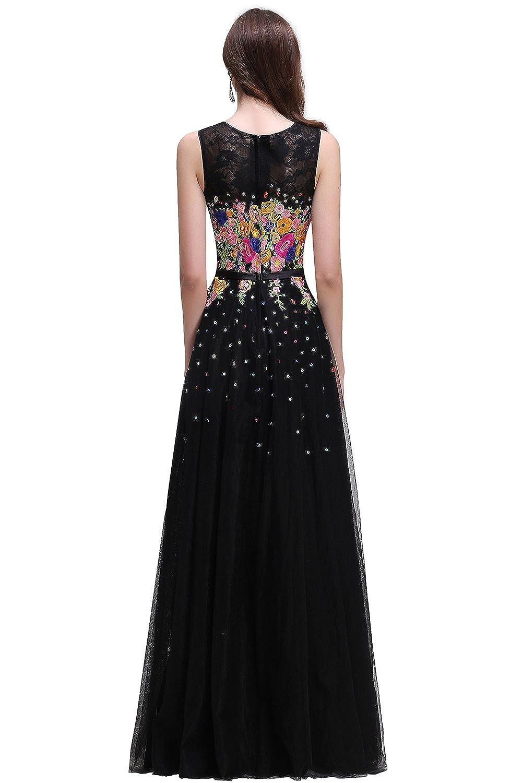 MisShow Damen Abendkleid Ballkleider Partykleider Blumen-Kleid 2017
