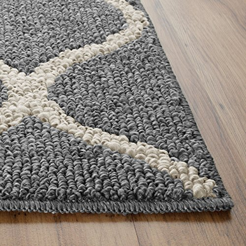 Maples Rugs Kitchen Rug - Rebecca 1'8 x 2'10 Non Skid Small Accent Throw Rugs [Made in USA] for Entryway and Bedroom, Grey/White ()