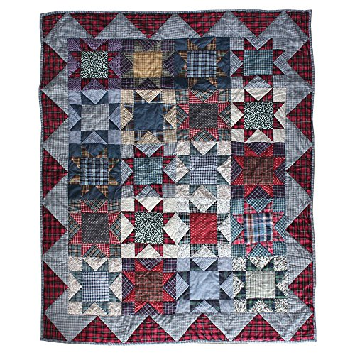 Lap Quilts Quilted Wall Hangings - Patch Magic 50-Inch by 60-Inch Denim Burst Throw
