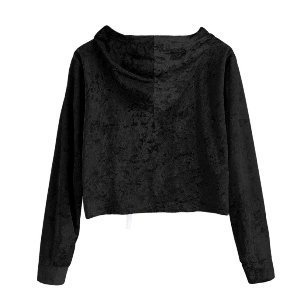 ONSEFZMZ Velvet Hoodies Women Hood Autumn Sweatshirt Women Long Sleeve Cropped Hoodie Sweatshirt Jumper Pullover