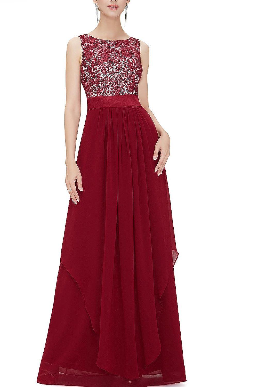 YACUN Women's Lace Elegant Long Bridesmaid Dress Wedding Party Gown CALLzy10528
