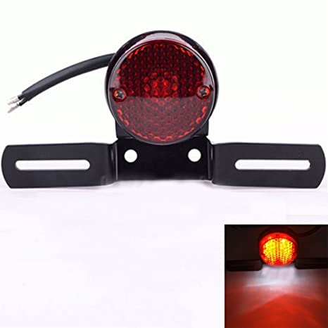Redondo luz trasera Motocicleta licencia LED freno de la ...