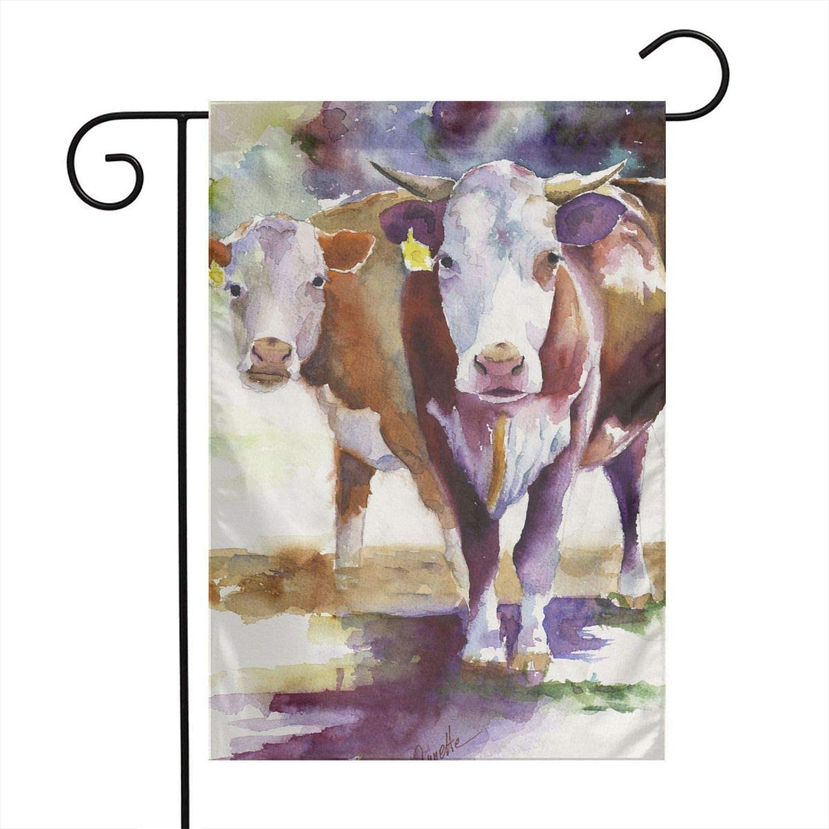 Hereford Watercolor Cow Garden Flags Home Indoor & Outdoor Holiday Decorations,Waterproof Polyester Yard Decorative for Game Family Party Banner