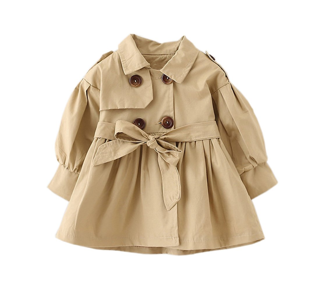 Taiycyxgan Baby Girls Trench Coat Toddler Jacket Overcoat Double-Breasted Outwear Beige 90