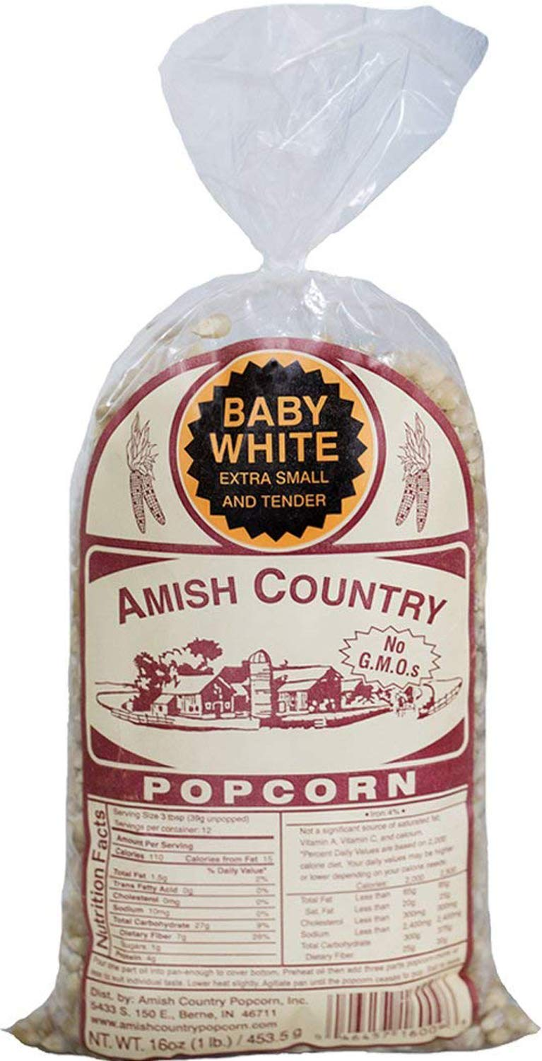 Amish Country Popcorn - Baby White (1 Pound Bag) Small & Tender Popcorn - Old Fashioned And Delicious, with Recipe Guide