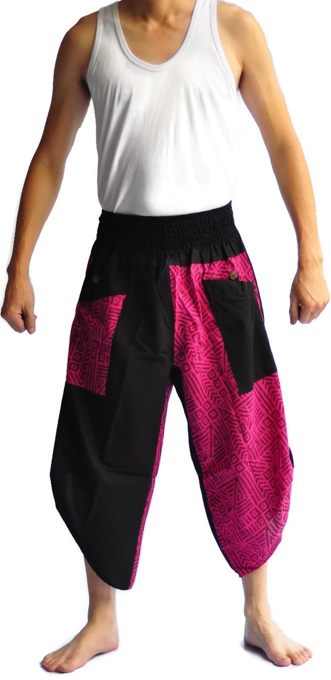 Siam Trendy Men's Japanese Style Pants One Size Black Tradition Stone (pink)