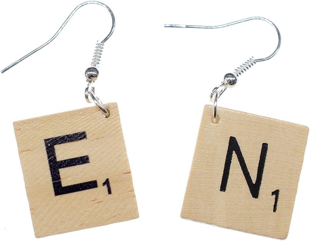 Scrabble carta CARTA pendientes iniciales SOLICITUD Upcycling de WISH I +?, 2. Buchstabe:P: Amazon.es: Joyería