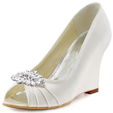 c992a383ef1e ElegantPark EP2009AW Women Wedges Heel Pumps Peep Toe Rhinestones Removable  Clips Satin Bridal Wedding Shoes Ivory