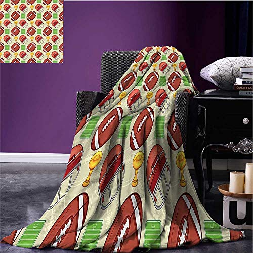 sunsunshine Football Digital Printing Blanket Equipment Icons Arena Ball Trophy Cup Winning The Championship Theme Print Summer Quilt Comforter Dark Coral Green Yellow Bed or Couch -
