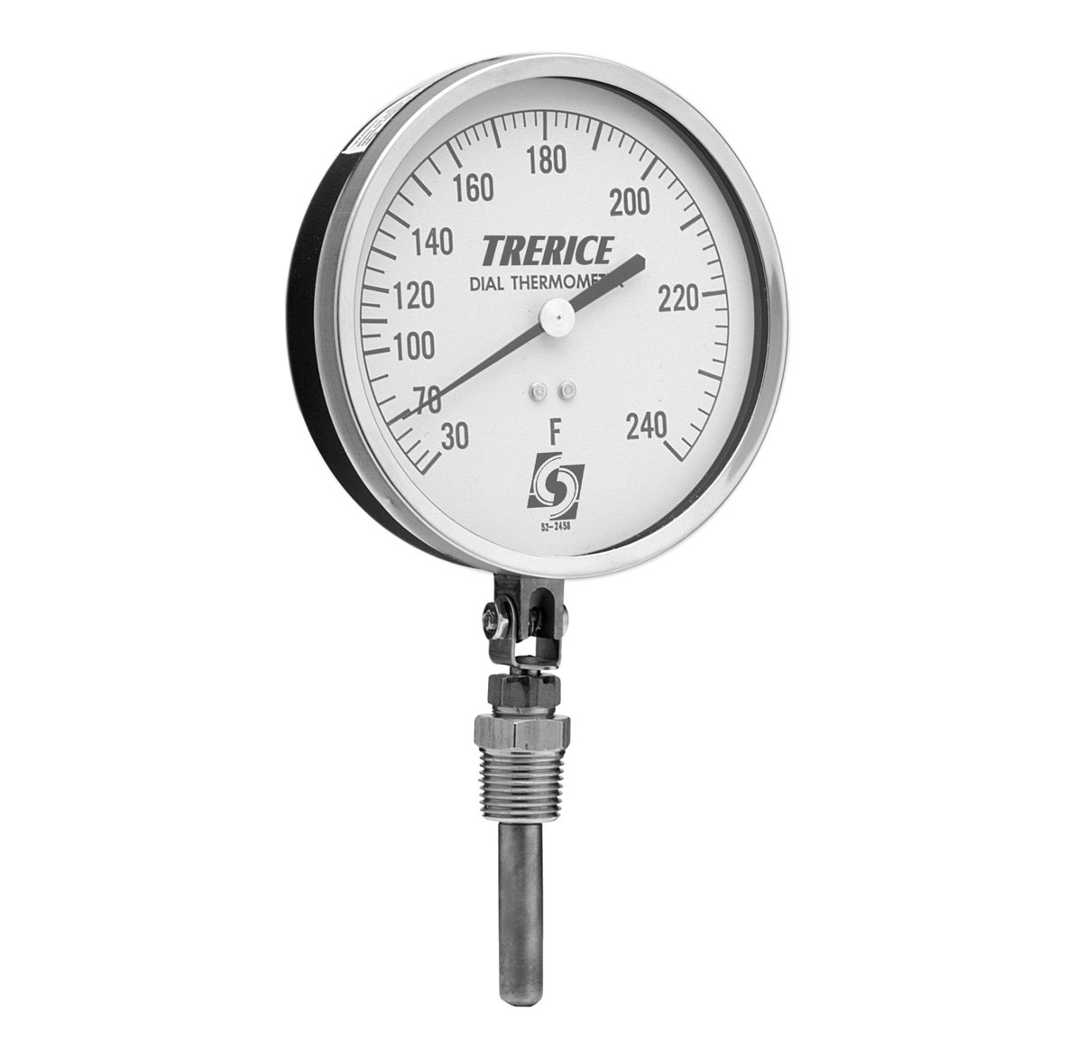 Trerice V80445050B31 Direct Mounted Dial Thermometer, Vapor Actuated, 4.5'' aluminum adjustable angle case, 0-100˚F, 2'' copper bulb