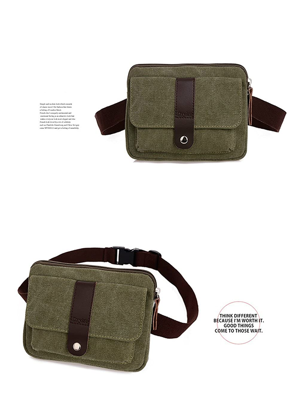 32bc5987a67c Amazon.com: Daosen Small Canvas Multiple Pocket Adjustable Fanny Pack  Travel Waist Bag Hip Purse Belt Bag Bum Bag Army Green: Sports & Outdoors