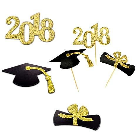 TankerStreet 48 pezzi 2018 Graduation topper per cupcake Cup cake Picks con  Mortarboard papillon numero 2018 ccef9f4e60d6