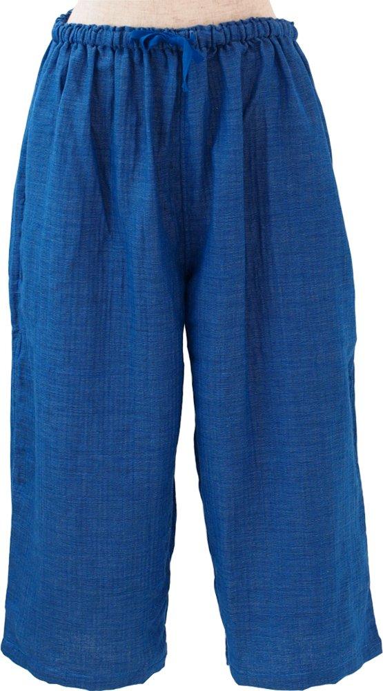 UCHINO レディース ガウチョパンツ マシュマロガーゼシャンブレー 綿100% 素肌に心地良い (L) ブルー RBS95325 L B B079JFTM33 Large|ブルー ブルー Large