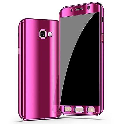 5b741c59bb5 Galaxy A7 2017 Funda, CHENXI Plating Metálico Chapado Espejo Estuche  Protector 360 Grados protección Completa