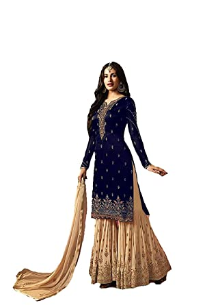 da30fff438 superx Womens georgette embroidered new plazzo style sharara salwar  suits(LFH-4009 Free Size) (Blue)  Amazon.in  Clothing   Accessories