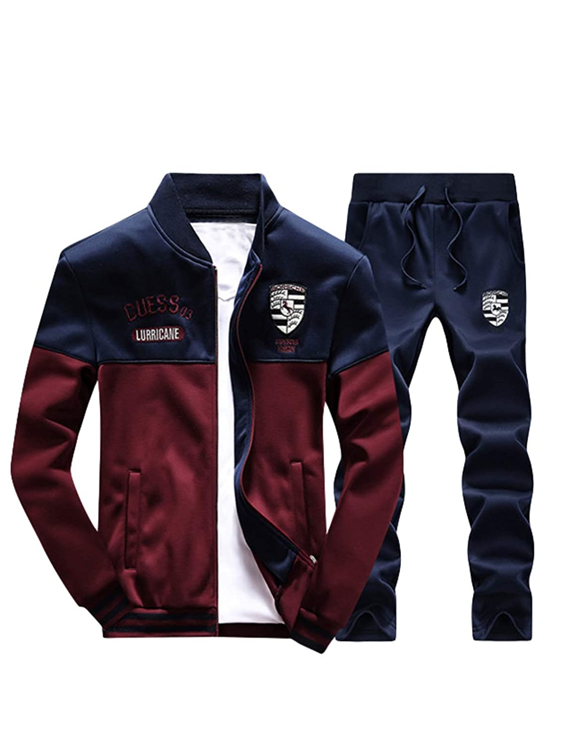 Lavnis Men's Casual Tracksuit Long Sleeve Full zip Running Jogging Sports Jacket And Pants