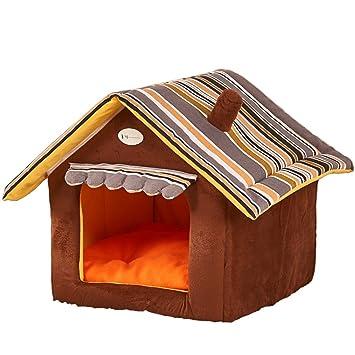 Leosi Caseta de dormir con forma de casa para perro, cama para mascotas, acogedora