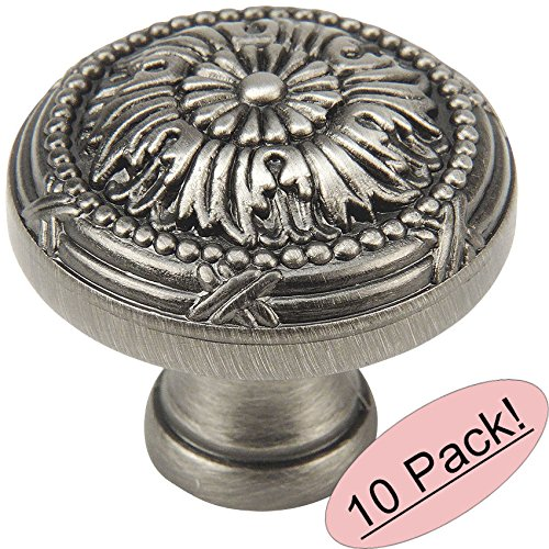 "10 Pack - Cosmas 9460AS Antique Silver Cabinet Hardware Round Knob - 1-1/4"" Diameter"