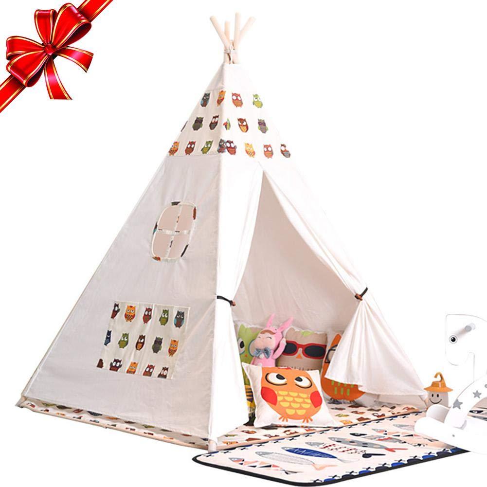 KEIBODETRD Kids Tipi Spielzelt Indian Style Wigwam Kinderspielhaus für Jungen Mädchen