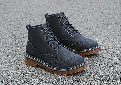 JiYe Womens Shoes Suede Classic Ankle Boots Bullock-black JzK7F3