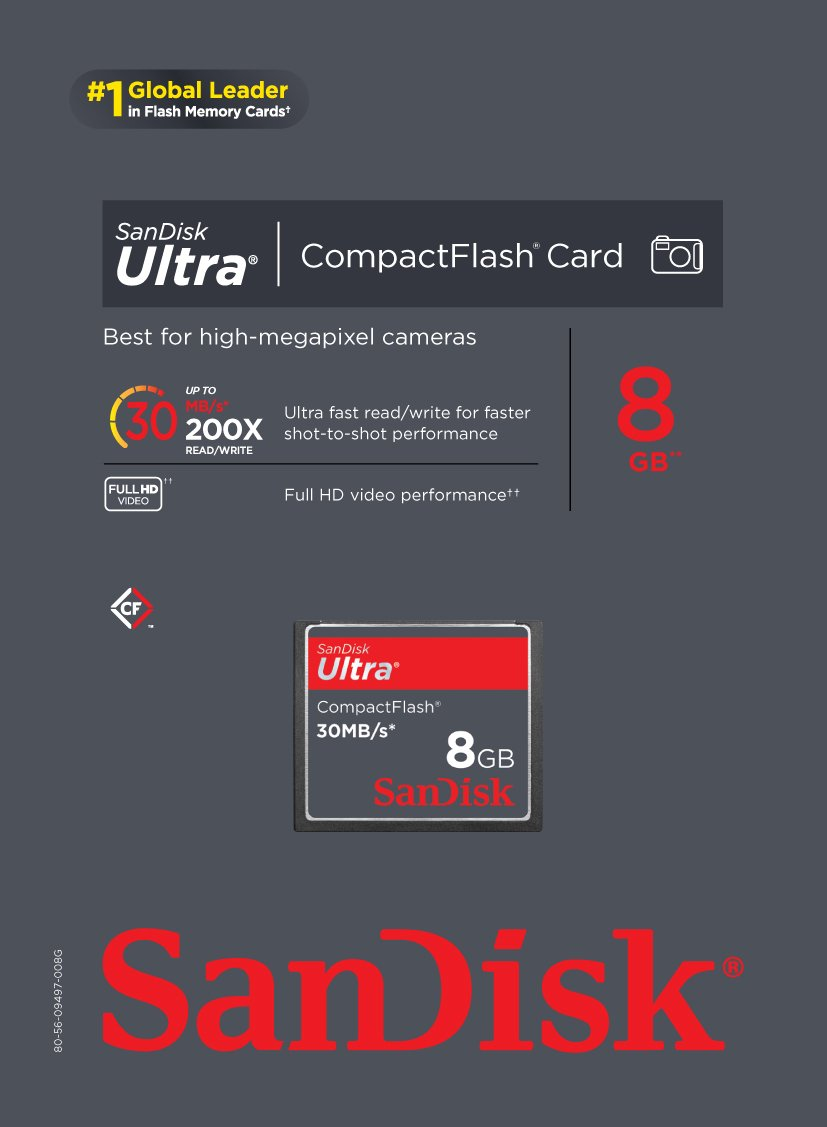 SanDisk Ultra CompactFlash 8 GB Memory Card 30MB/s SDCFH-008G-U46