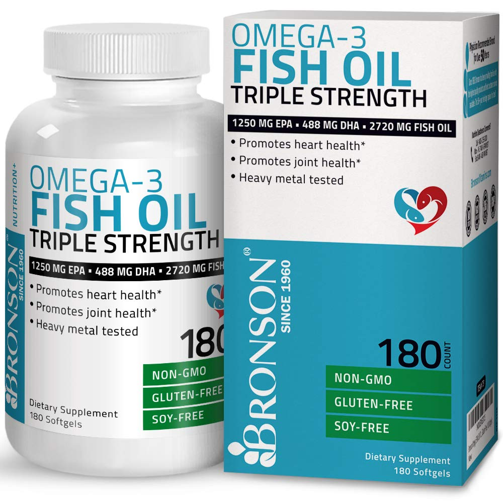 Bronson Omega 3 Fish Oil Triple Strength 2720 mg, Non-GMO, Gluten Free, Soy Free, Heavy Metal Tested, 1250 EPA 488 DHA, 180 Softgels