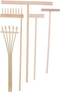 JiaUfmi 5 Pcs Zen Garden Rake Bamboo Tools, Wooden Sandbox Sand Play Toy Kit, Desk Tray Miniatures Accessories for Serenity and Spiritual Peace Meditation