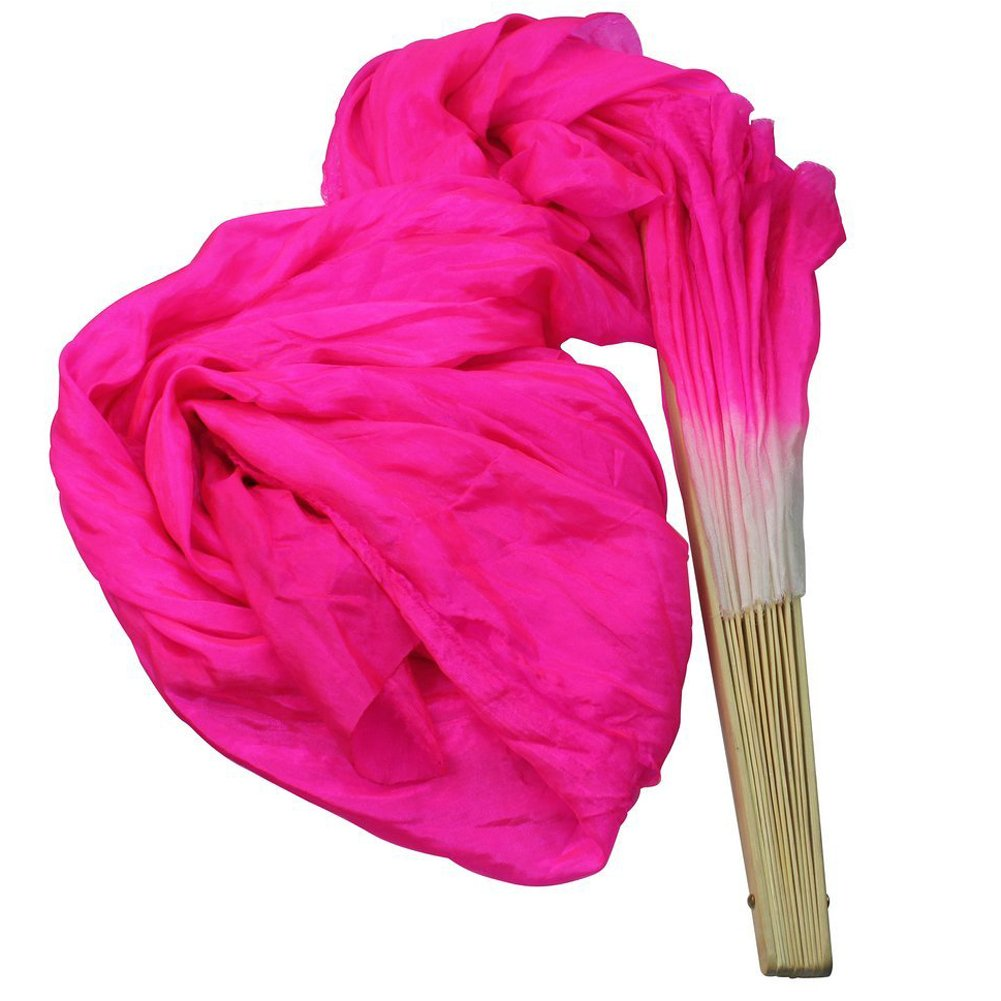 Sealike Hot Pink 1.8M Hand Made Belly Dance Dancing Silk Bamboo Long Folding Fans Veils with a Stylus
