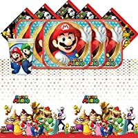 Super Mario Bros Nintendo Children's Birthday Complete Party Tableware Pack for 16 by Balloons and Party