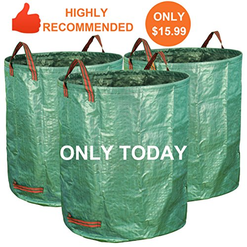 Yard Leaf (Gardzen 3-Pack 72 Gallons Garden Bag - Reuseable Heavy Duty Gardening Bags, Lawn Pool Garden Leaf Waste Bag)