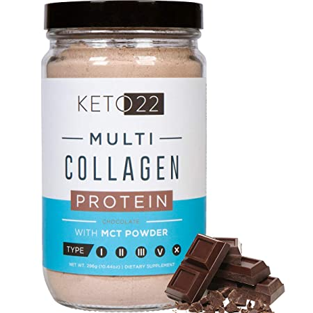 Keto 22 Chocolate Keto Protein Powder – High Quality Multi Collagen Keto Powder with MCT Oil Powder – Keto Collagen Protein Powder – Keto Chocolate Shake – Paleo Gluten Free – Glass Bottle