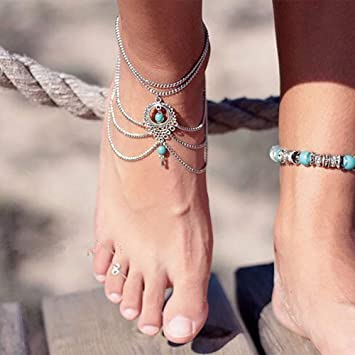 Nicute Boho Bracelet de cheville en argent avec perles pour femme et fille