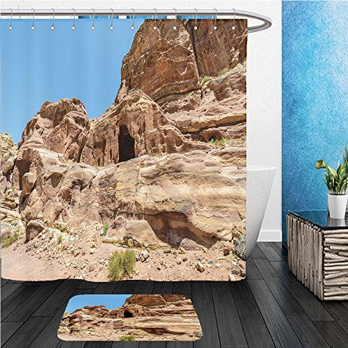 Beshowereb Bath Suit: ShowerCurtian & Doormat caves in the rocks of petra the capital of the kingdom of the nabateans in ancient times unesco - Rock Round Macy's