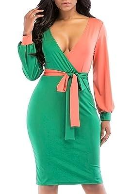 JOSIFER Women Elegant Long Puff Sleeve Waist Belt Sexy Slim Fit Fancy Skirt Dress