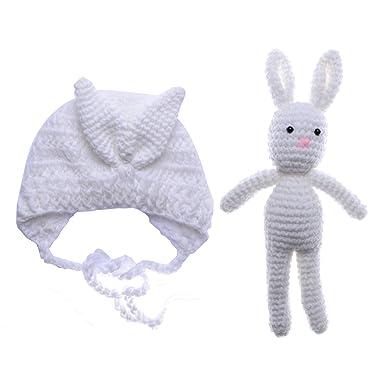 0-3 Monate Baby Mütze Hut Neugeborenes Häkeln Hase Weich Deckel mit ...