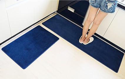 2pcs/set Non Slip Long Kitchen Mats And Rugs Flannel Yoga Mat Absorbent  Carpets