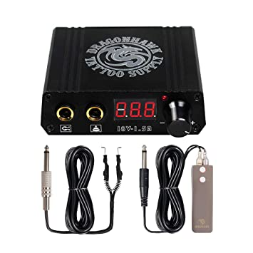 b4346554bb13d Image Unavailable. Image not available for. Color: Dragonhawk Lcd Dual  Tattoo Machine Gun Power Supply Foot Pedal Clip ...