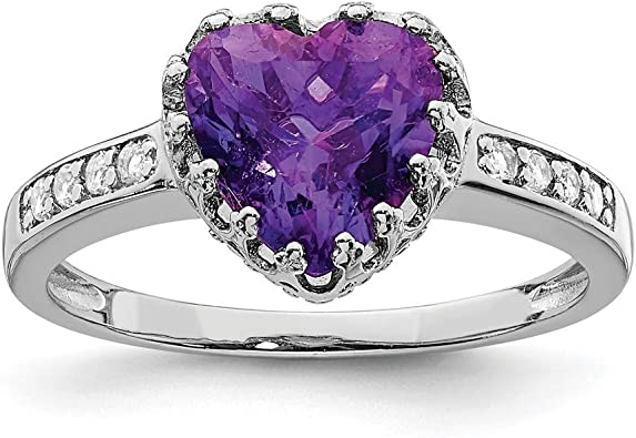 T-Ring Fashion Heart Purple Stones Rings Silver Color Rings Jewelry Women Wedding Rings